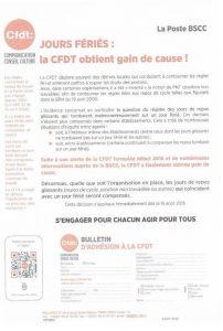 La Poste DSCC : Jours fériés, la CFDT obtient gain de cause!