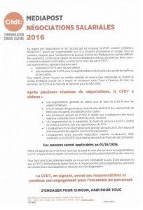 Médiapost : Négociations salariales 2016