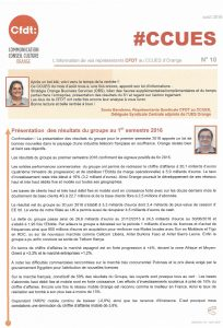 Orange : L'information de vos représentants CFDT au CCUES d'Orange – N°10