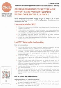 La Poste DDCE : Commissionnement et part variable doivent faire partie intégrante du dialogue social!