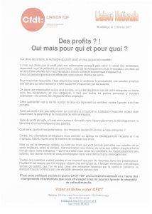 Liaison TDF : Des profits ?! Oui mais pour qui et pour quoi?