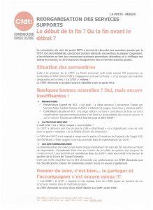 La Poste – Réseau : Réorganisation des services supports