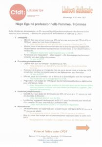 Liaison TDF : Négo Egalité professionnelle Femmes/Hommes