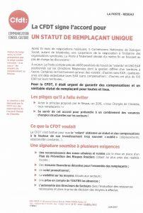 La Poste Réseau : La CFDT signe l'accord pour un statut de remplaçant unique