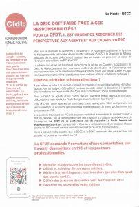 La Poste BSCC : La DRIC doit faire face à ses responsabilités