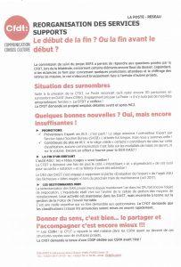 La Poste Réseau : Réorganisation des services supports