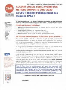 La Poste SLD N°8 : La CFDT obtient l'allongement des mesures TPAS
