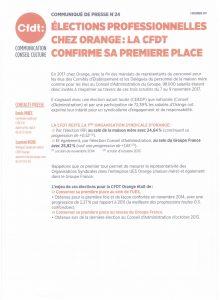 Orange : Communiqué de presse La CFDT confirme sa 1ère place!