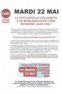 LA CFDT APPELLE LES AGENTS A SE MOBILISER POUR FAIRE ENTENDRE LEUR VOIX LE 22 MAI 2018