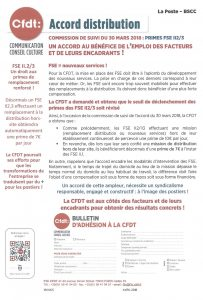 LA POSTE BSCC : ACCORD DISTRIBUTION